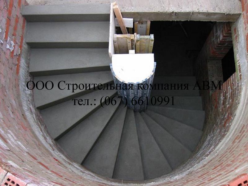 Минимальная стоимость прямой лестницы из бетона - 9 000 грн, лестницы с площадкой и поворотом на.