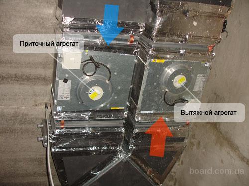 Вентиляция коттеджа на основе приточной и вытяжной вентиляционных установок.