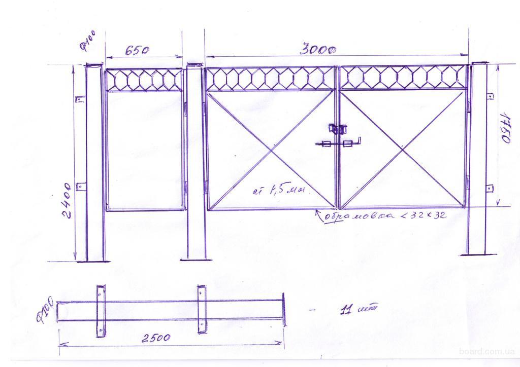 Сварить распашные ворота своими руками схема 3