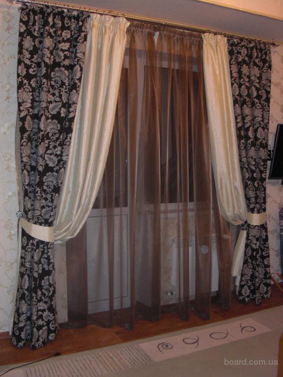 Как сшить комбинированные шторы в гостиную 12