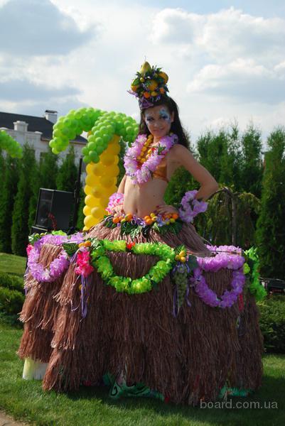 Гавайские леи, Гавайские юбки, шоколадные фонтаны, фруктовые пальмы, искусственные пальмы,