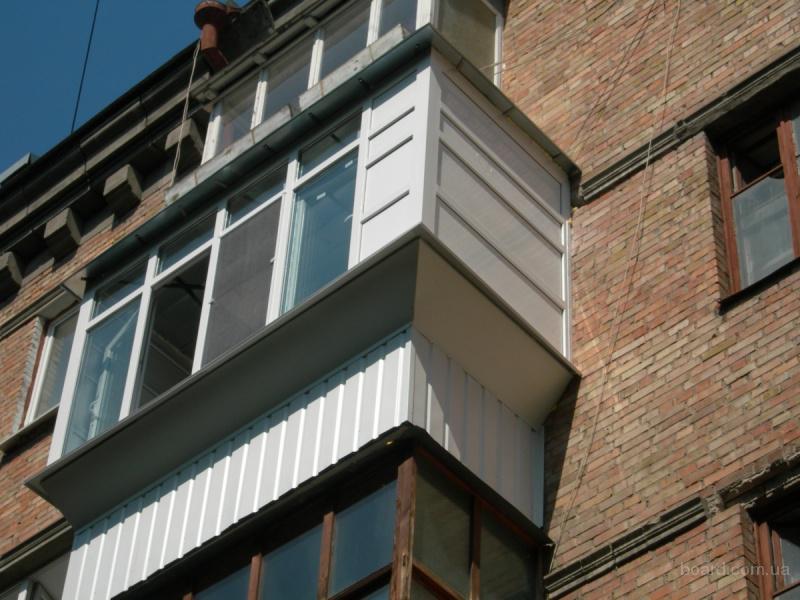 Балконы металопластиковые вынос козырек обшивка снаружи. кие.
