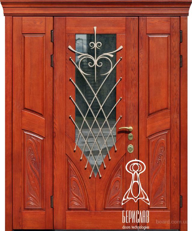двери входные металлические с стеклопакетом и ковкой троицк