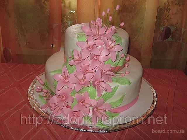 """Свадебный торт """"Розовые колокольчики"""""""