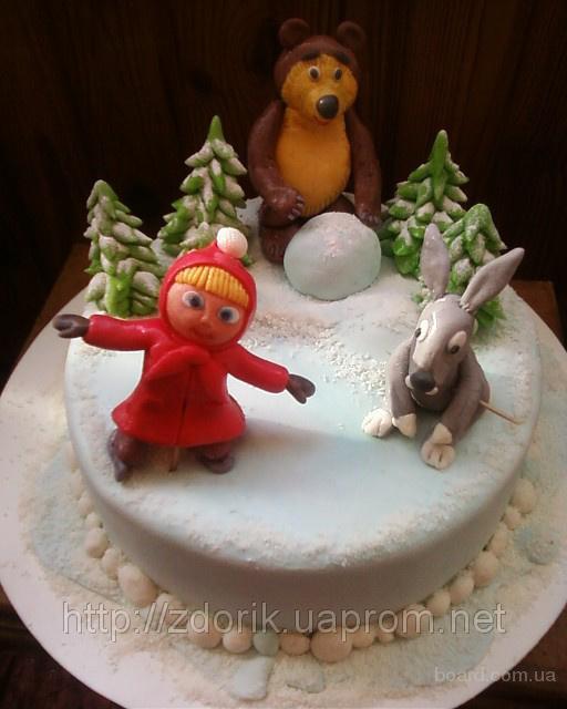 Детский торт Маша и Медведь (Праздник на льду, 10-я серия)