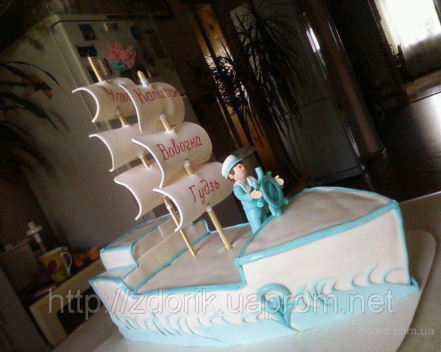 Торт на 4 года мальчику, который любит море, корабли и представляет себя капитаном