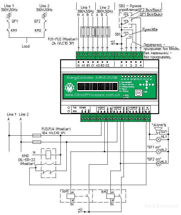 Рисунок 1. Типовая схема блока автоматического включения резерва АВР.