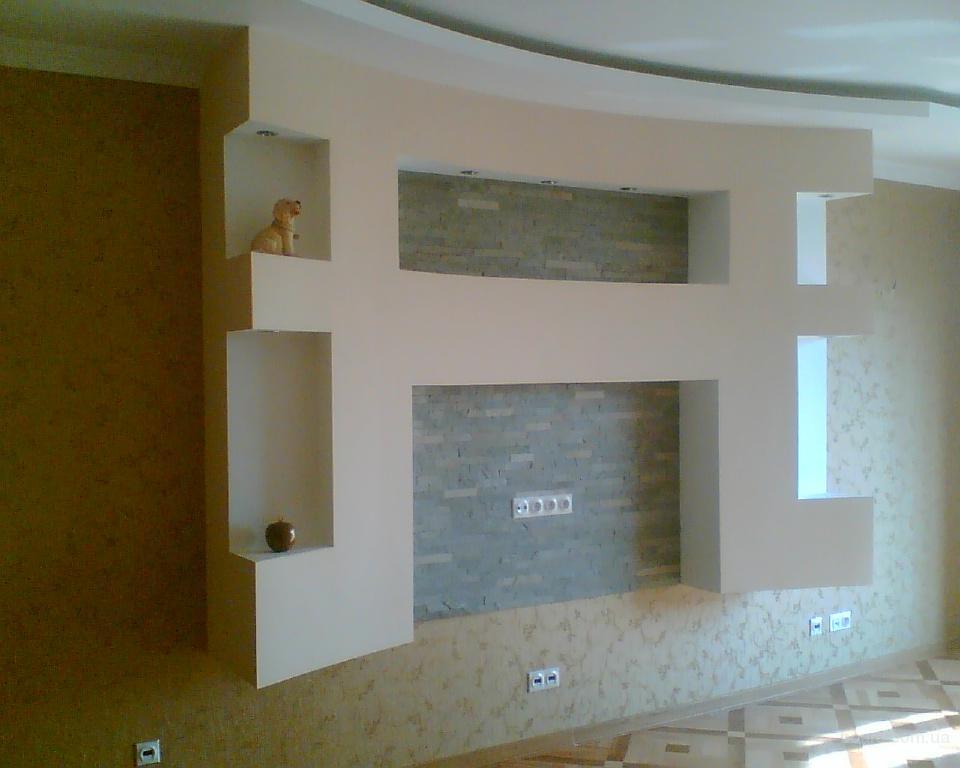 Гостиная: ниши и конструкции из гипсокартона, дизайнерские проекты, Телевизор в гостиной: варианты оформления...