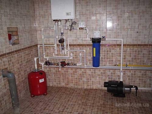 ...установка расширительного бака системы отопления, установка насосной станции.Стандартная схема мини...