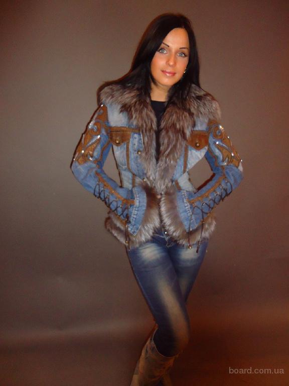 Джинсовая куртка с мехом чернобурой лисицы silwerfox Италия. Шубы и полушубки - MEXA-ONLY