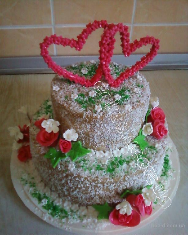 """Свадебный 2-х ярусный торт """" Два сердца"""""""