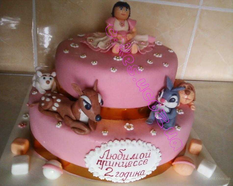 """Праздничный торт """"Любимой принцессе 2 года"""""""