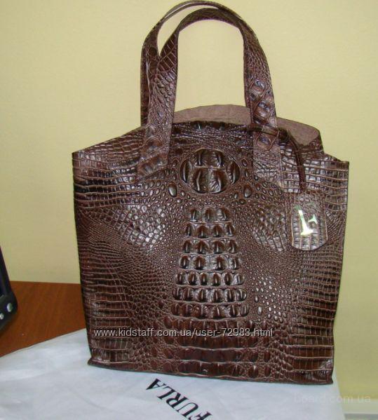 продам : FURLA JUCCA coffee croc embossed leather.