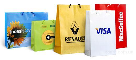 Пакеты бумажные для магазинов, выставок, подарков изготовление в Киеве (Украина)