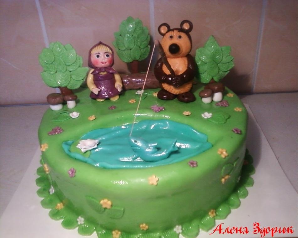 Детский торт Маша и медведь на рыбалке