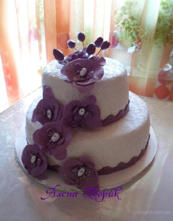 торт с сиреневыми орхидеями фото