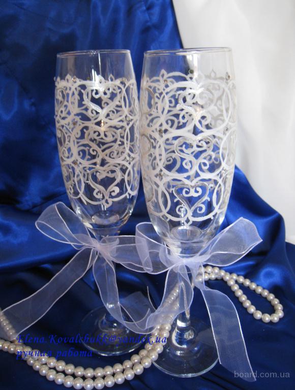 Оформление свадебных бокалов и шампанского под заказ. Ручная работа продам в Киев, Украина. цена 250 грн. (купить, куплю) - Потр
