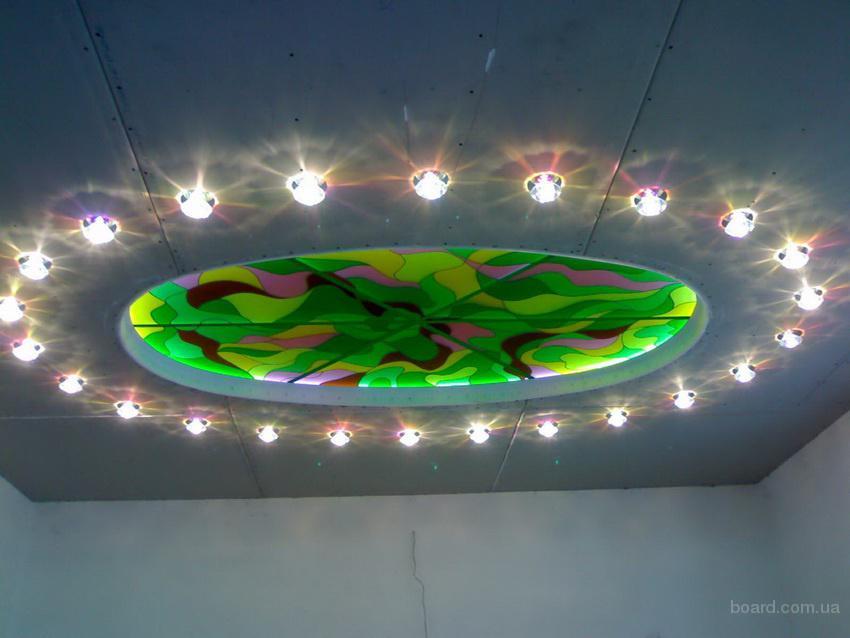 Вітражні світильники для ніш, стелі, стін. Світильники вітражні підлогові та ландшафтні.