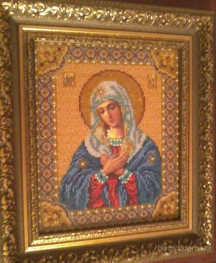 Продам икону Богородица (Умиление), вышивка бисером.  Могу вышить любой сюжет.