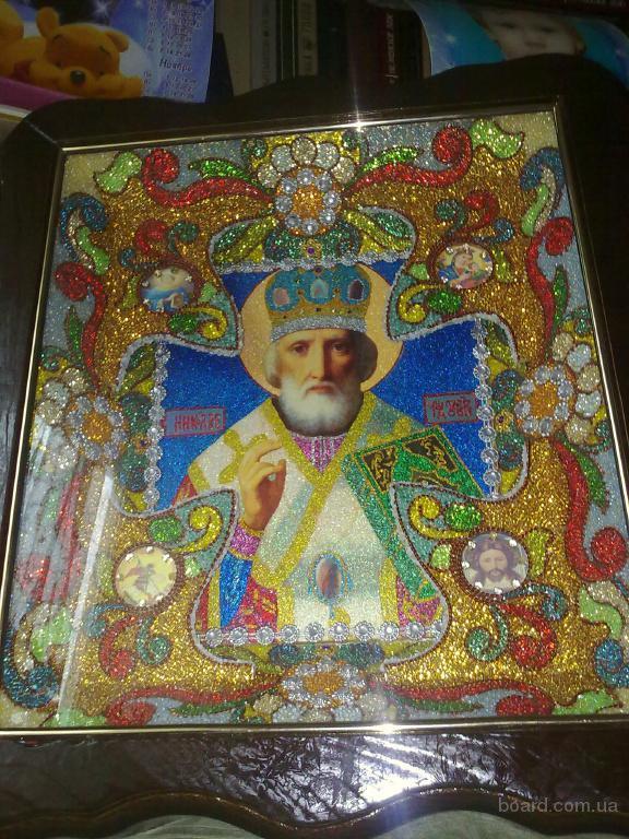 Продам икону из бисера Николай Чудотворец. продам. грн.