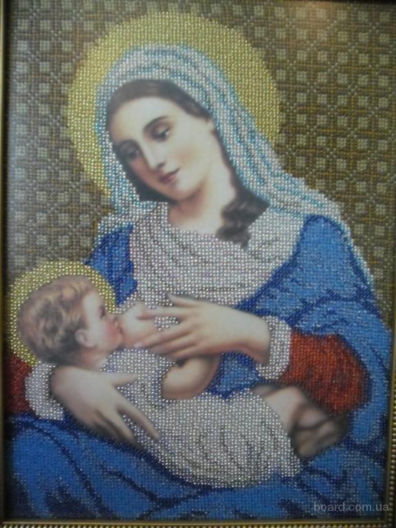 """Икона  """"Богородица Млекопитательница """" ручной работы вышитая Чешским бисером.  Установлена в рамку в багетной..."""