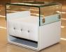 Кожаная кровать белого цвета, современная спальная комната, хай-тек. Эксклюзивная немецкая мебель