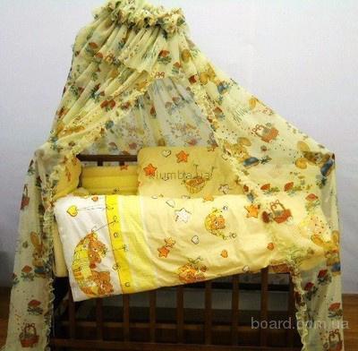 Бюджетное предложение для молодой семьи-Кроватка кф-матрас-набор в кроватку с цветным балдахином