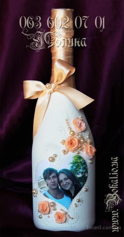 шампанское на свадьбу, роспись, декор бокалов, свадебные бокалы, фото на бутылку