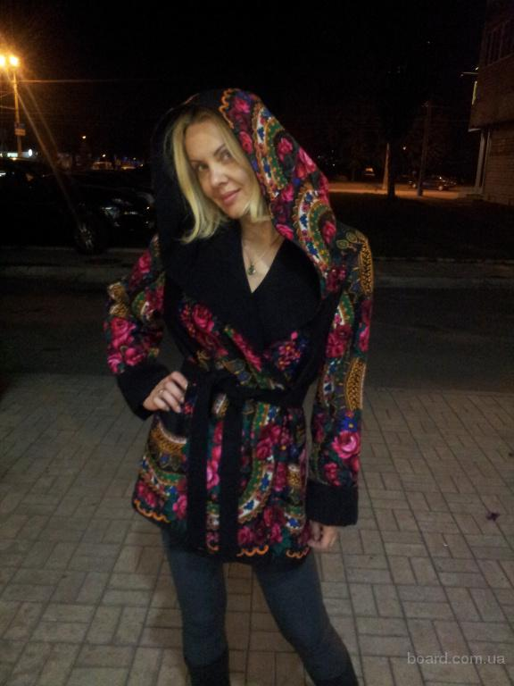 Пальто двустороннее кашемир-платок в стиле Матрешка